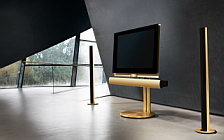 Bang & Olufsen BeoVision 7 40 with BeoLab 7 2 on motorised floor stand with BeoLab 6002 golden series wallpapers 4K Ultra HD